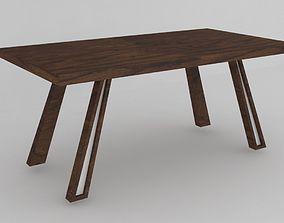 3D asset Modern wooden dining table