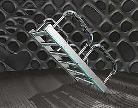 3D model Sci-Fi Stairs - 27 - Silver Blue Neon Light 1