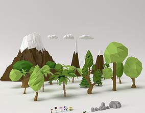 Low poly Trees Flowers Grass Rocks Clouds and 3D model 1