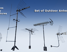 Set of outdoor TV Antennas 3D model realtime