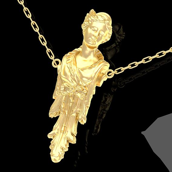 Caryatid Pendant Jewelry Gold 3D print mode