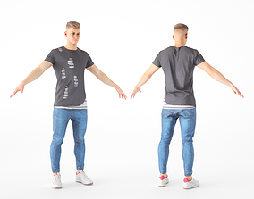 3D asset Male casual style with PBR textures 17