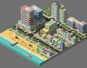 3D model Low poly city near the beach