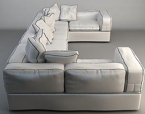 White Corner Sofa 3D settee