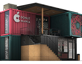 3D model Container donuts restaurant