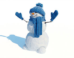 Snowman with hat and mittens 3D