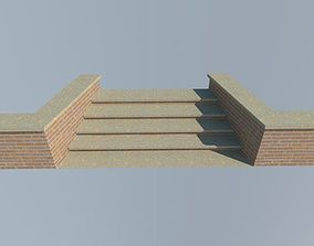 brick steps wall 3D model