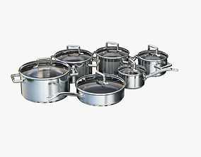 A set of stainless steel saucepans 3D asset