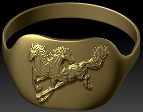 3D printable model Ring with the drawing of a horse