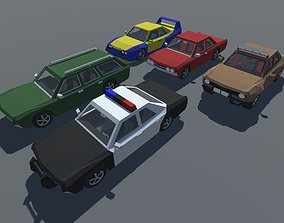 3D asset Muscle Car with Interior in 5 Versions