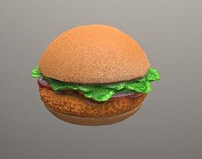 3D asset fried chicken sandwich Low Poly
