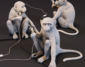 The Monkey Lamp Sitting Version 3D asset low-poly