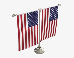 Decorative desk flag on double flagpole 3D