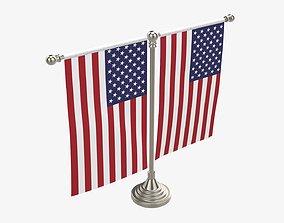 Decorative desk flag on double flagpole 3D