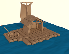 Wooden Raft low-poly 3d model realtime