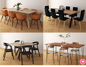 3D model Dining Tables Pack A-D - HQ Low Poly