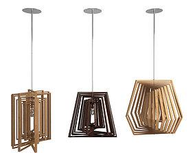 Twist Wooden Pendant Lamps 3D