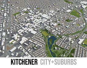 Kitchener - city and surroundings 3D asset
