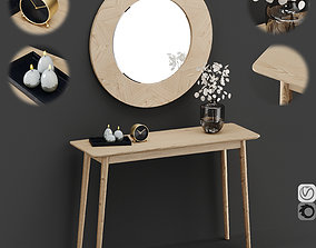 3D Midford Console Table And Round Mirror