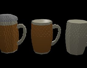 3D model Beer mugs voxel 1