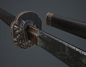 Samurai katana 3D model PBR