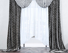 3D silk Curtains with pattern