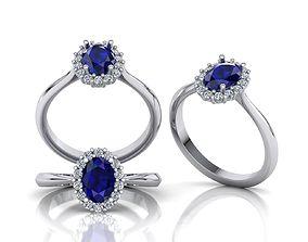 Oval Diana ring 7x5 Blue sapphire 3D print model