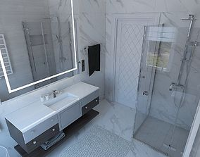 Cozy shower room with stone tile 3D