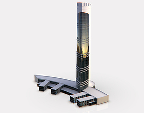 city 3D model game-ready Central Building