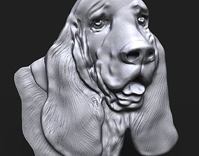 Basset Hound Dog head bas relief 3D printable model