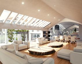 Blender Eevee Modern Mansion 3D model VR / AR ready