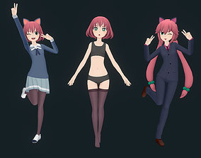 3D Rigged Anime Girl - Outfits and Expressions