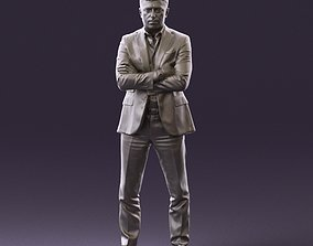 001027 man in close pose in blue square suit 3D Print