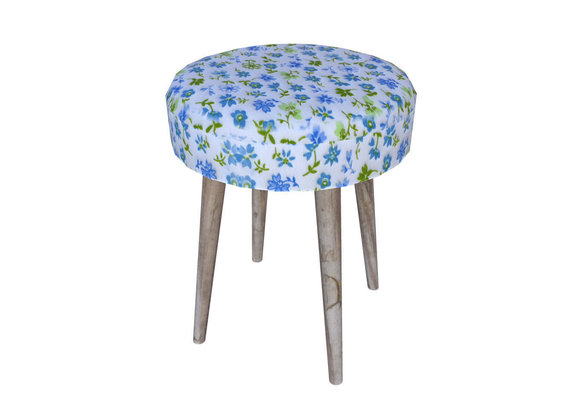 taburet with flower pattern fabric