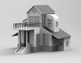 3D Villa Duplex with Balcony model realtime