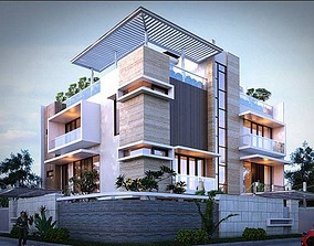 House design 3d model tree animated