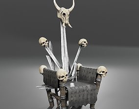 Fantasy Throne with Skulls 3D PBR