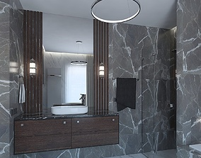 Luxurious bathroom with a dressing room 3D