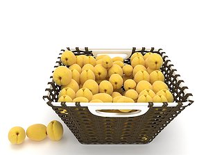 wicker apricot fruit basket 3D model