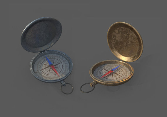 Low Poly Bronze and Silver Compass