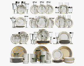 3D houseware Classical glasses and plates