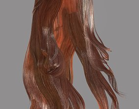3D asset low-poly Woman hairstyle unity