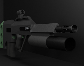 Assault rifle with bullpup system Low-poly 3D game-ready