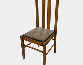 Low Poly PBR Dining Chair 3D asset game-ready wooden