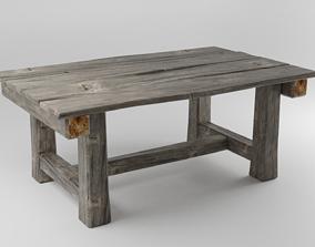 Medieval Wood Table 3D asset