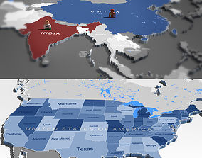 3d world map and usa map