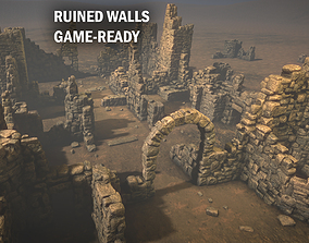3D model low-poly Ruined walls