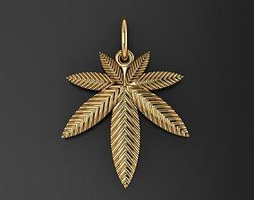 3D print model Pendant marijuana leaf hashish