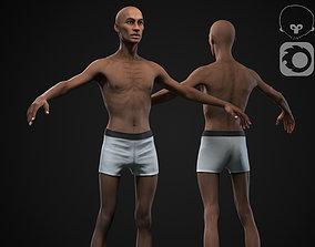 Black skinny man 3D asset