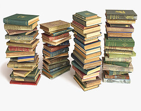 library 3D model books stacked on the floor set 8